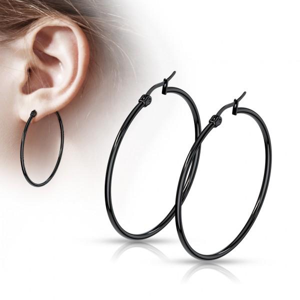 ein Paar Ohrringe in schwarz, rostfreier Stahl