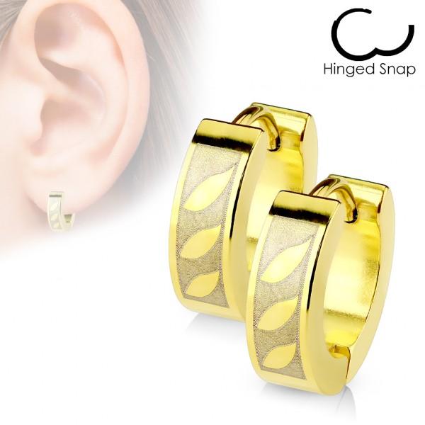 ein Paar Ring 316L Chirurgenstahl Gold plattiert Ohrring mit 3 Tribal Blatt