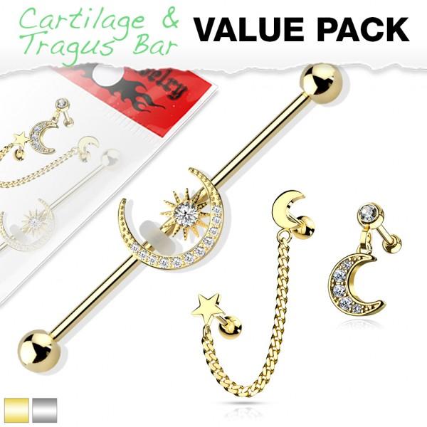 3 Stück Set Gold Silber Piercing Hantel Industrial Barbell Labret Stab Helix Tragus Ring
