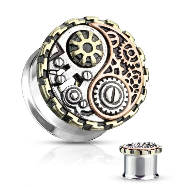 3 Farben Ying und Yang Steampunk Double Flare Tunnel