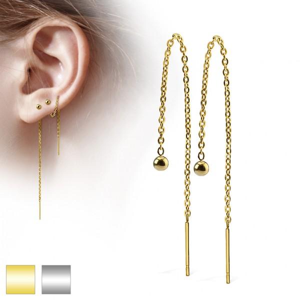 Ohrringe Ohrstecker Paar hängende Kette Gold 3mm Ball Stahl
