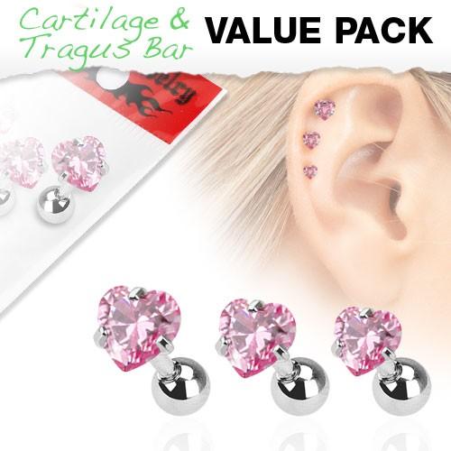 3er Pack Zirkonia Cartilage Tragus Piercing Herz Pink