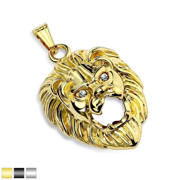 Löwenkopf Anhänger Gold Diamant Augen 316L Stahl