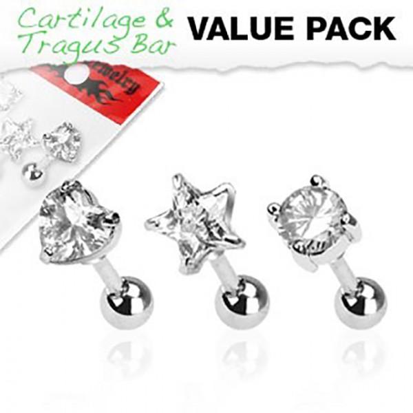 Herz Stern Kugel Cartilage Tragus Piercing 3er Pack
