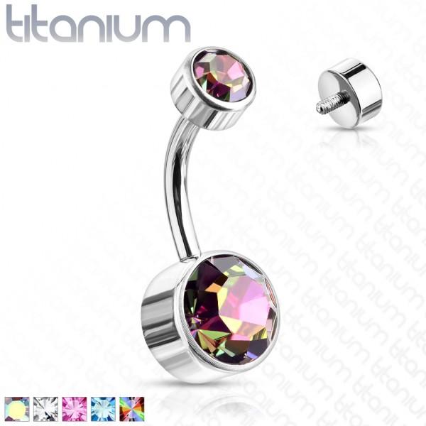 Kristall Titan Bauchnabelpiercing Innengewinde