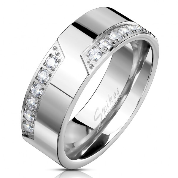 Ring Silber 12 Kristalle Edelstahl
