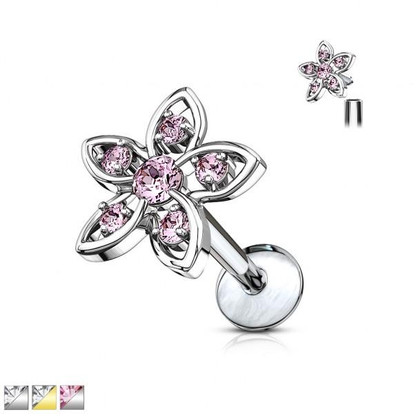 Kristall Blume Top 316L Chirirugen Innengewinde Labret Monroe Ohrpiercing Cartilage