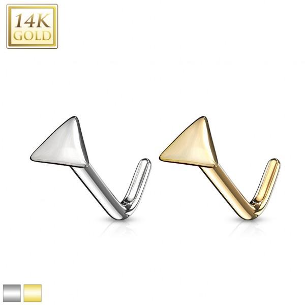 Dreieck Nasenpiercing 585 Echtgold 14 Karat L-Form