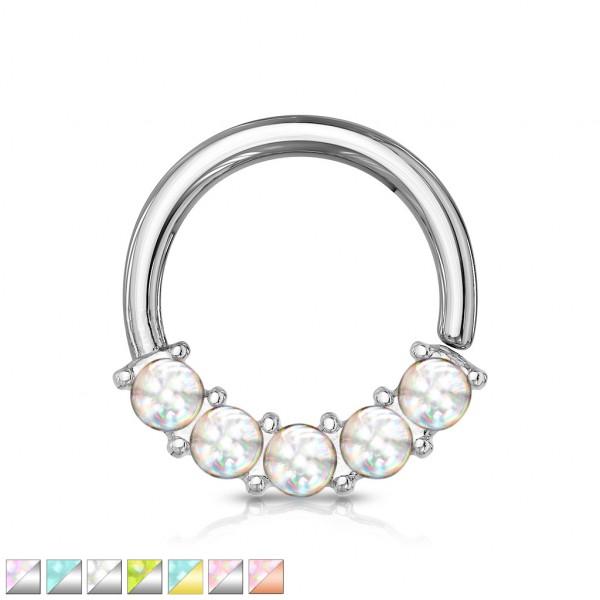 5 leuchtende Steine biegbarer Ring für Augenbraue Nase