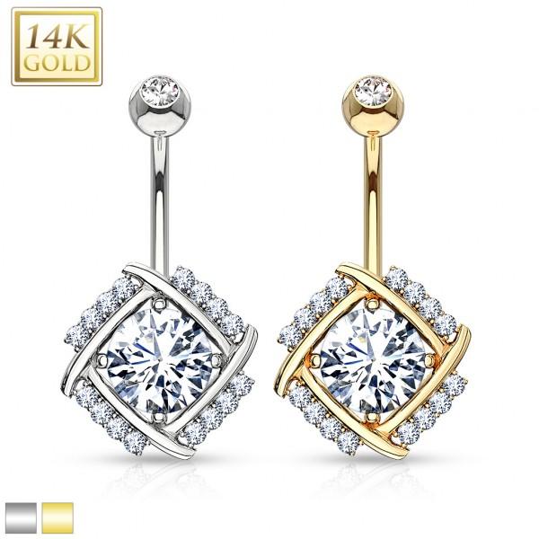 Diamantschnitt Bauchnabelpiercing 14 Karat Gold