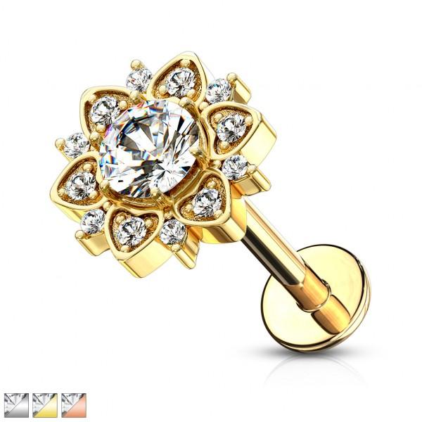 Kristall Blume mit Kristall in der Mitte Innengewinde flach für Labret Monroe