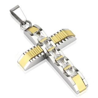 Kreuz Silber Gold Diamanten Anhänger Kette 316L Stahl