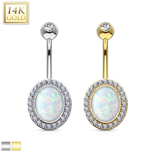 Opal Ovalschliff Bauchnabelpiercing 14 Karat Gold