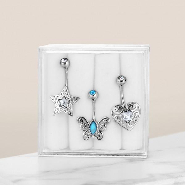 3 Stück Set Bauchnabelpiercing Schmetterling Bauchnabelring Zirkonia Kleinod Box Geschenk