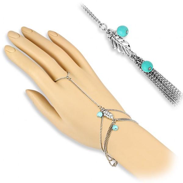 Türkis Perlen und Blatt Anhänger Sklave Kette Armband