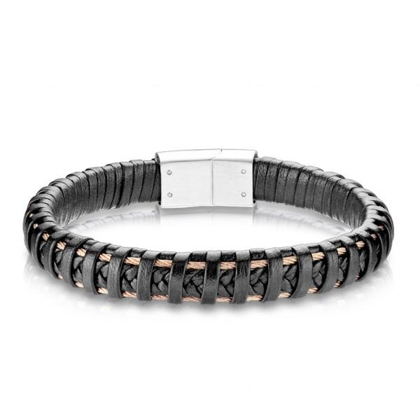 Beste Qualität, schwarzes Mikrofaser Leder und rostfreier Stahl aus Roseold, Armband für Männer