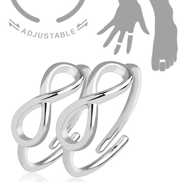 Unendlichkeitssymbol, verstellbar, Rhodium umhüllte Messing, Mittelring/Fußring