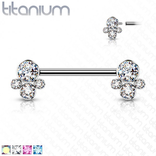 Nippelpiercing Titan Stab Internally Threaded Kugel Zirkonia Farben