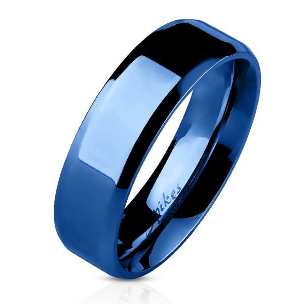 Ring Blau abgeschrägte Kanten Bandring Edelstahl