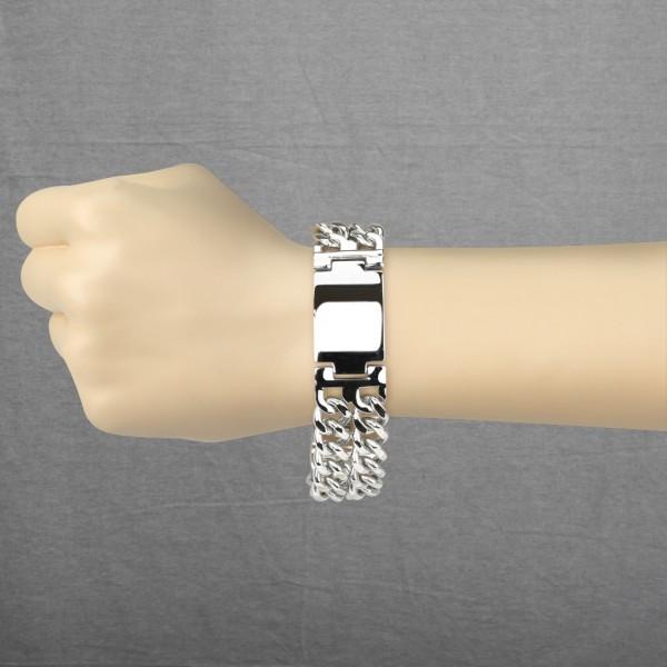 eingraviert Plate & Doppel Ketten auf jeder Seite Ring 316L Chirurgenstahl Armband