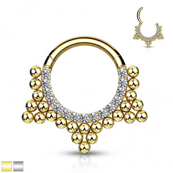 Kugel Gold Silber Segment Hoop Ring Scharnier Hohe Qualität 316L Chirurgenstahl Gold Schwarz Daith S