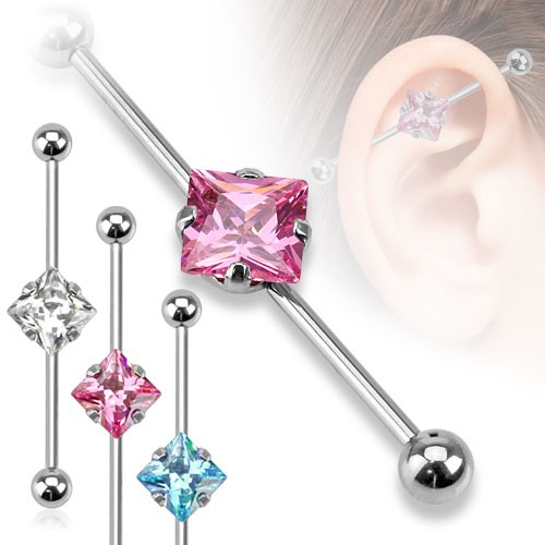 Kristall Viereck Industrial Surface Bar Piercing