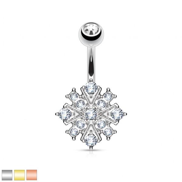 Diamant Stern Bauchnabelpiercing Kristall Top 316L Stahl