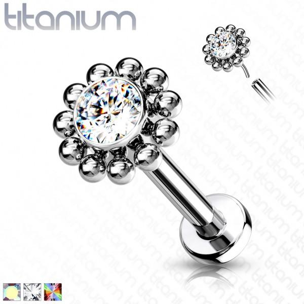 Titan Blume Labret Flat back mit Kristallen und Kugeln
