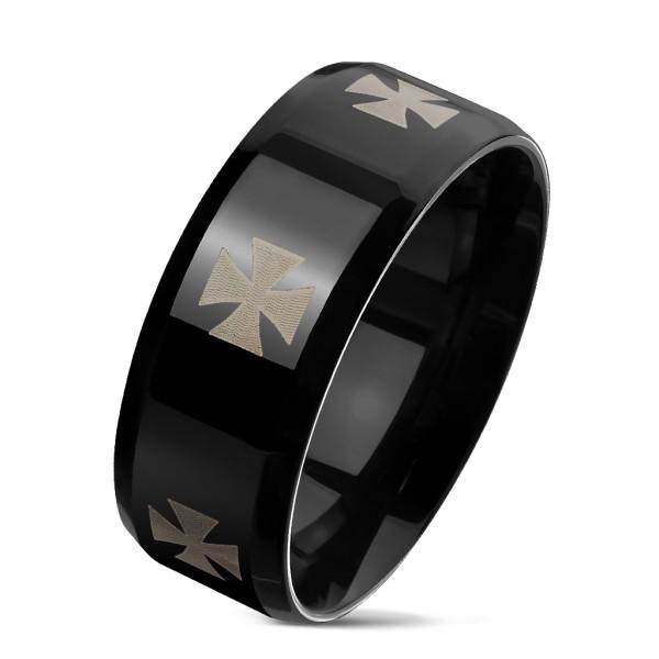 Kreuz eingraviert auf schwarzem Ring rostfreies Stahl