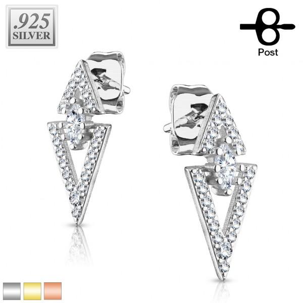 1 Paar Ohrringe Dreieck Zirkonia Stecker Silber 925.
