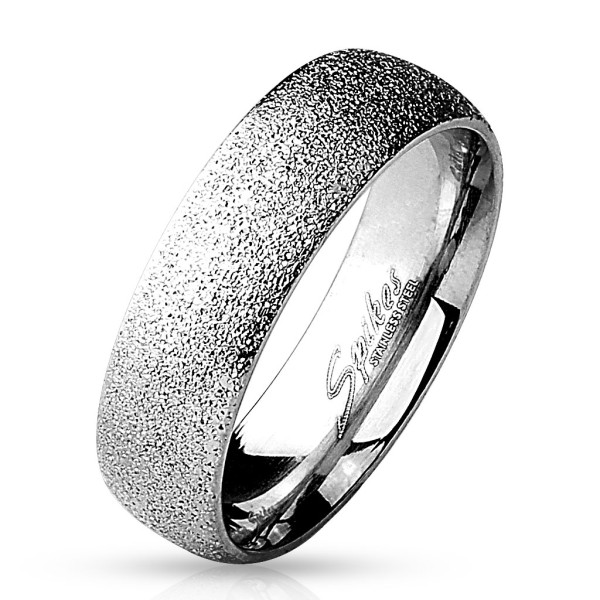Ring Silber Sand glitzernd 316L Chirurgenstahl