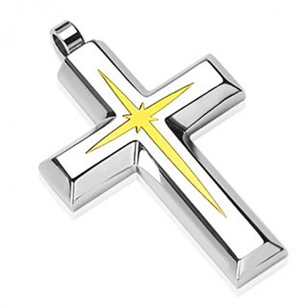 Kreuz mit Goldenem Stern Anhänger Silber 316L Stahl