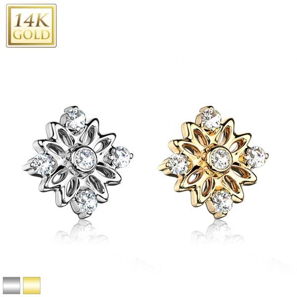 14 Karat Echtgold Blume verziert mit 5 Kristallen Dermal Anchor