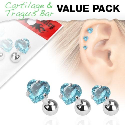 3er Pack Zirkonia Cartilage Tragus Piercing Herz Aqua