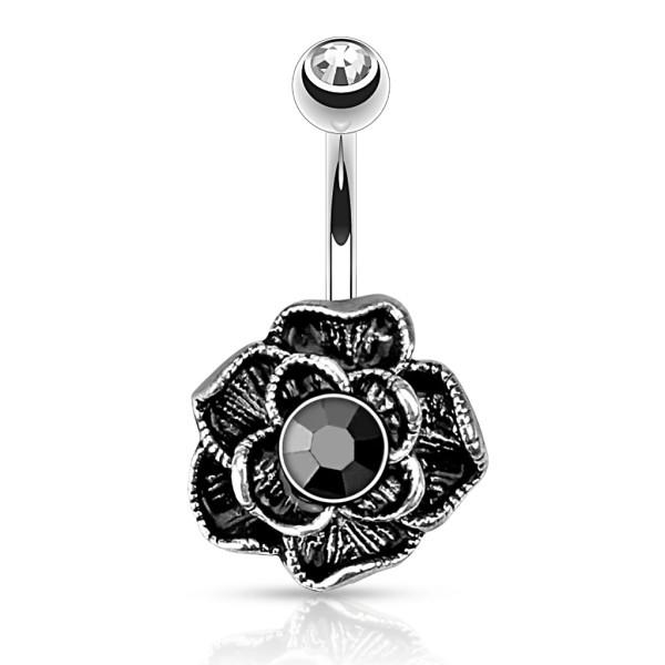 Blume schwarz Bauchnabelpiercing