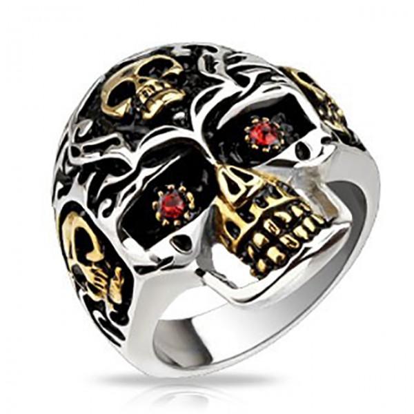 Ring Totenkopf Gold-Akzente rote Kristalle Edelstahl