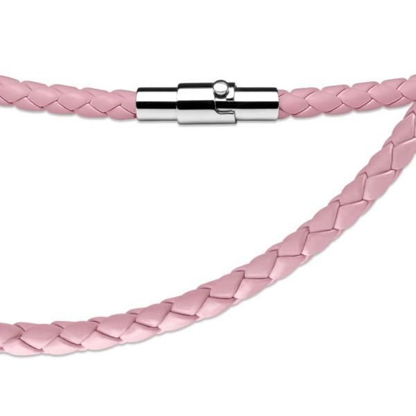 Pink Leder - geflochten Halskette mit Lockable Magnetverschluss