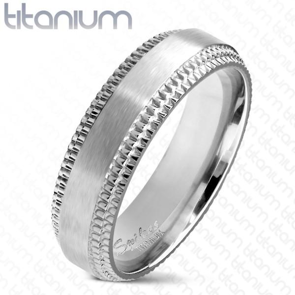 Ring Silber gebürstet Titan