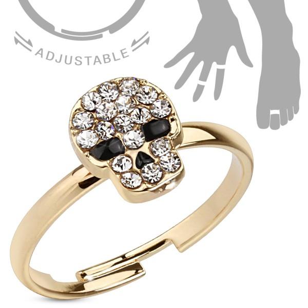 Kristall Totenkopf Gold verstellbar Ring Handring/Fußring