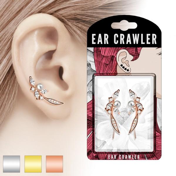 Paar Ear Cralwer Feder Perle