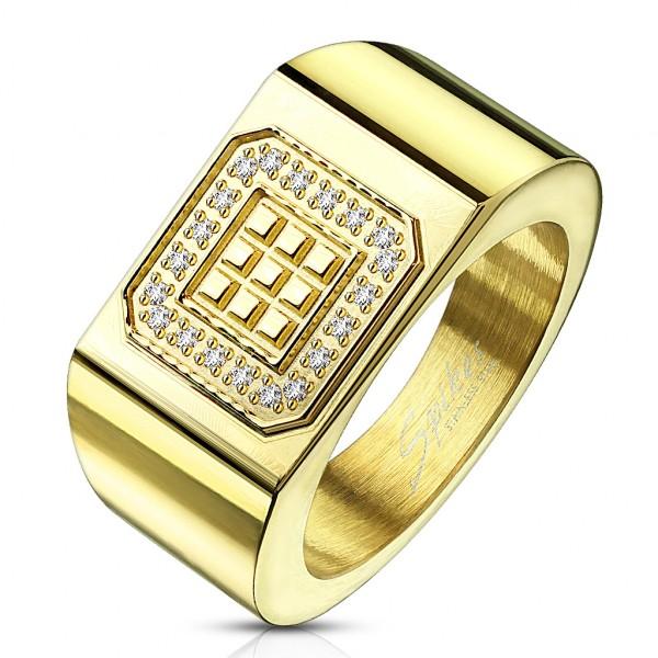 Ring 20 Kristalle gold breit Edelstahl