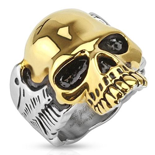Ring zweitönig Schädel gold Edelstahl