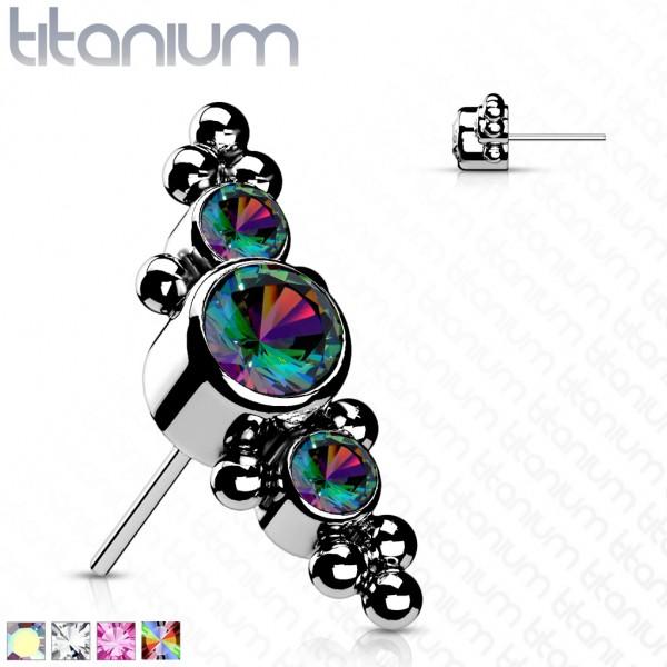Titan Aufsatz Top drei Kristalle und Kugeln Push-In System