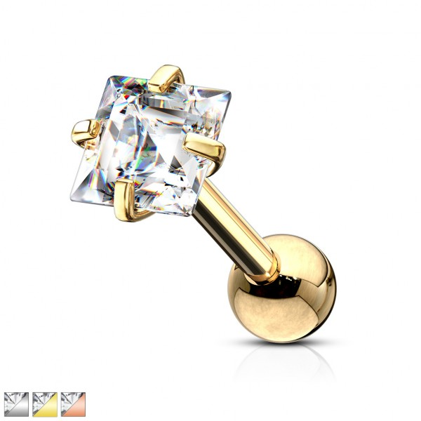 Tragus Hantel Barbell quadratischer Kristall mit Zinken Cartilage Ohrpiercing Helix