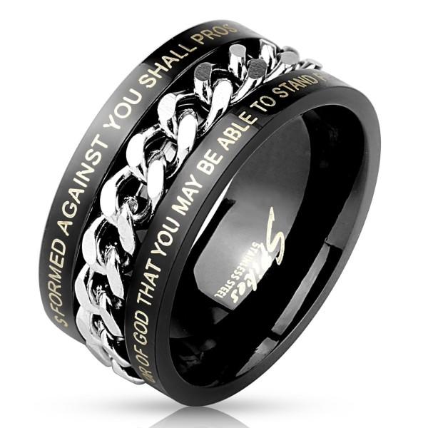 Ring schwarz Kette Gravur Edelstahl