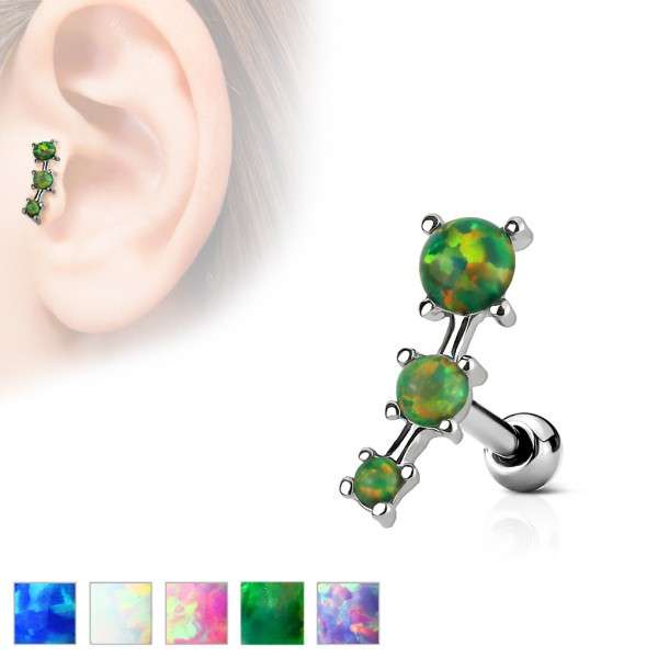 3 Opal Cartilage Tragus Piercing