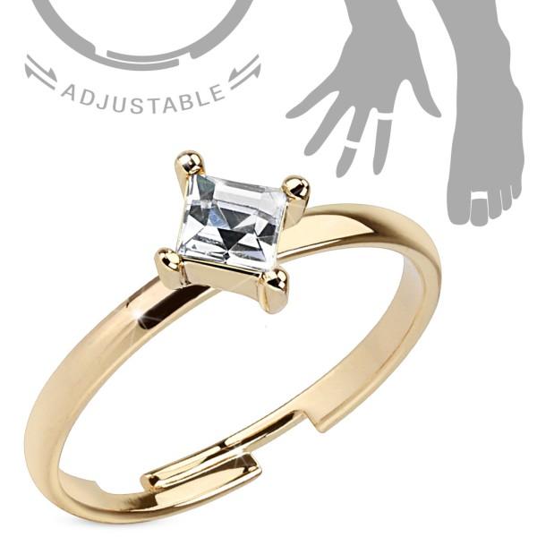 Diamant Kristall Viereck Gold verstellbar Ring Handring/Fußring