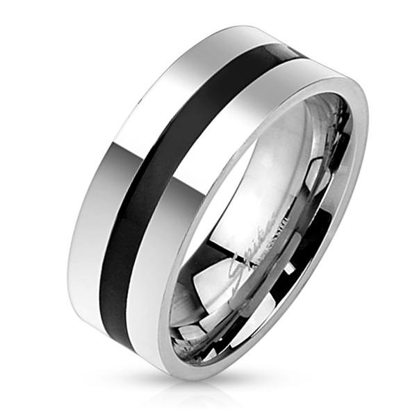 Ring Silber Schwarz Edelstahl