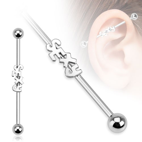 Sexy Industrial Surface Bar Piercing