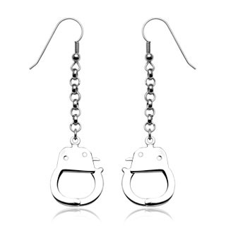 HBJs 316L Hook Ohrringe mit baumeln Handcuffs (Sold in Pairs)